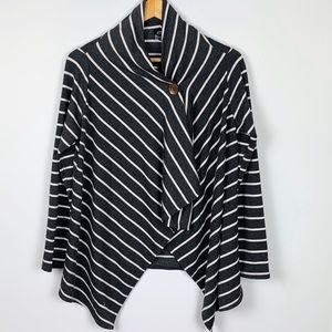 BOBEAU grey striped trapeze cardi size M